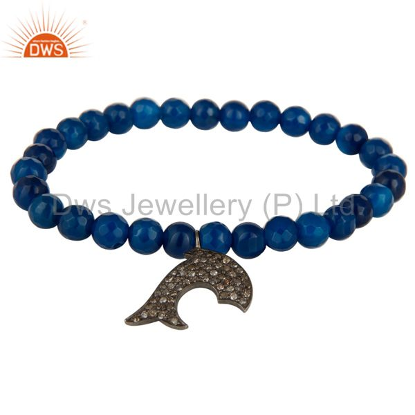 Blue Onyx 925 Sterling Silver Pave Diamond Dolphin Charm Stretch Bracelet