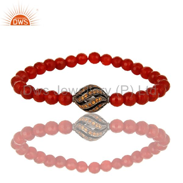 925 Sterling Silver Spessartite Beads Faceted Carnelian Stretch Bracelet