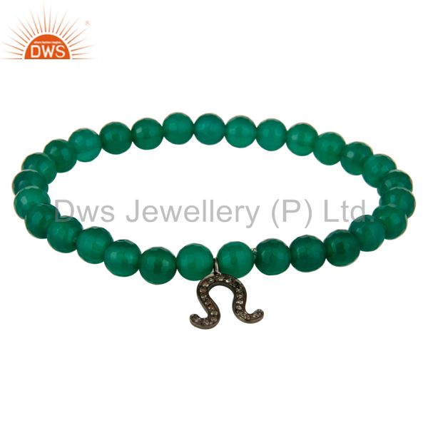 Green Onyx 6MM Rounds Beads Sterling Silver Pave Diamond Horseshoe Charm Bracele