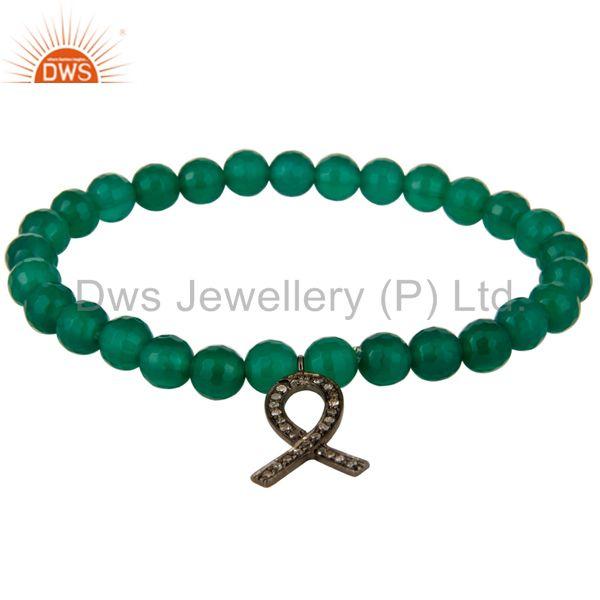 Natural Green Onyx Sterling Silver Pave Diamond Awareness Ribbon Charms Bracelet