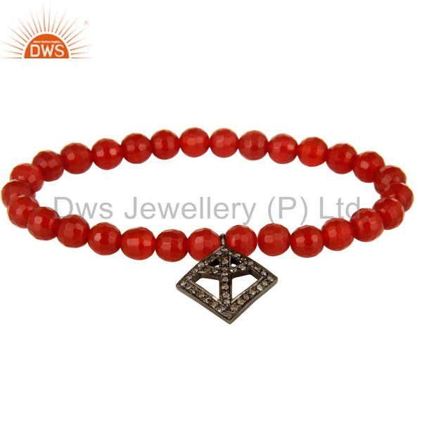 Faceted Carnelian Beads Stretch Bracelet With Silver Pave Diamond Peace Charms