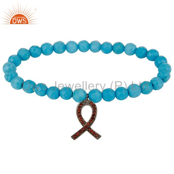 Turquoise Stretch Bracelet With Silver Spessartite Garnet Awareness Ribbon Charm