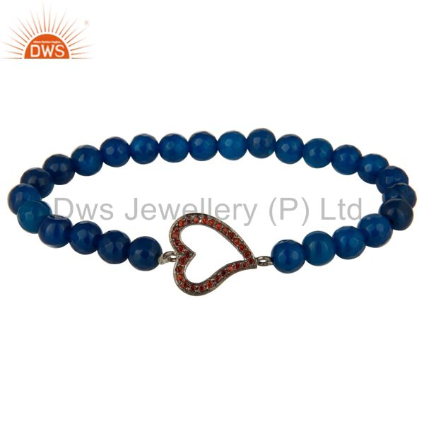 Faceted Blue Onyx Gemstone Stretch Bracelet With Spessartite Garnet Heart Charms