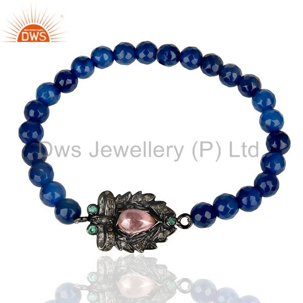 Natural Diamond Charms Bracelet,Pink Tourmaline Bracelet.Blue Onyx Bracelet