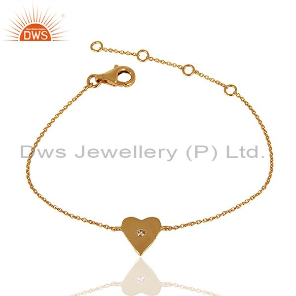 Solid Gold Heart Shape Design Women Chain Bracelet Jewelry Manufacture