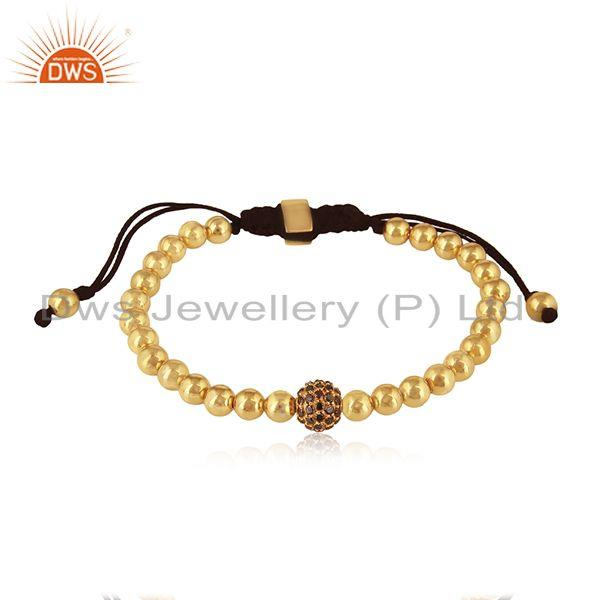 Solid 18k Yellow Gold Beads Black Diamond Adjustable Bracelet Manufacturer India