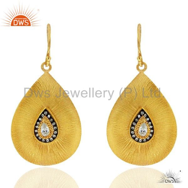 18K Yellow Gold Plated Sterling Silver Cubic Zirconia Drop Dangle Hook Earrings