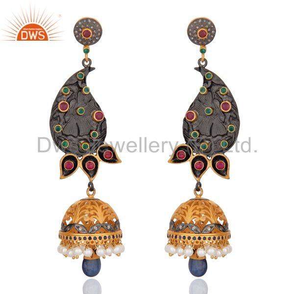 Indian Designer Sterling Silver Pave Diamond Ruby Emerald DrOP Pearl Jhumka Earr