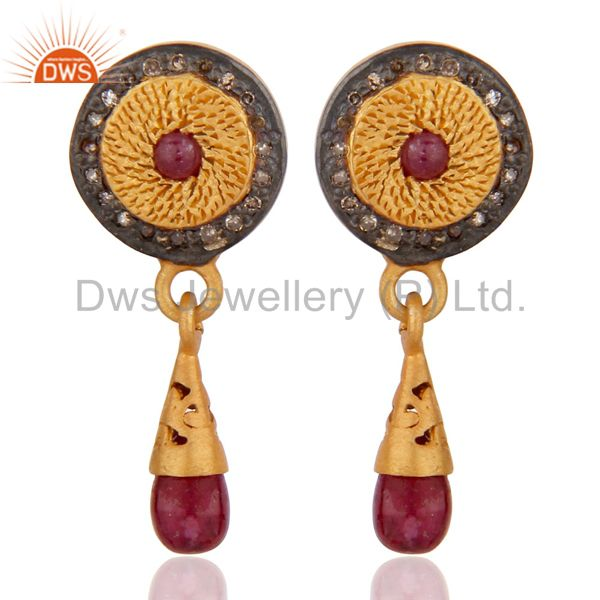 Handmade 925 Sterling Silver Natural Ruby Pave Diamond Drop Stud Earring Jewelry