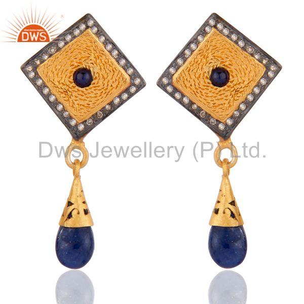 Natural Real Pave Diamond Blue Sapphire 925 Sterling Silver Fashion Drop Earring