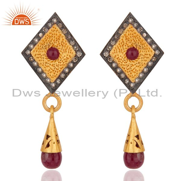18k Gold over 925 Sterling Silver Genuine Ruby Pave Diamond Drop Dangle Earrings