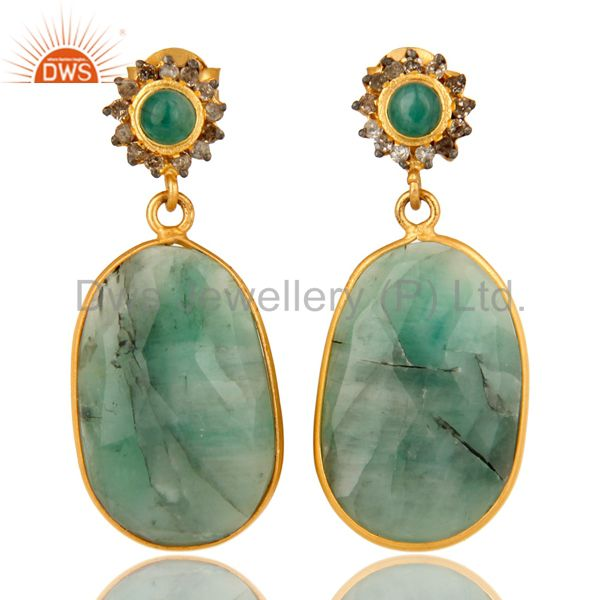 18K Yellow Gold Sterling Silver Pave Diamond And Emerald Bezel Set Drop Earrings