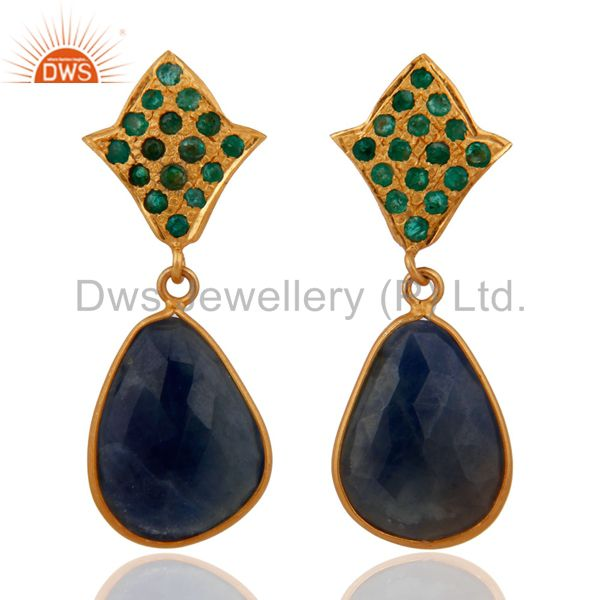 18K Gold Over 925 Sterling Silver Emerald Blue Sapphire Slice Drop Stud Earrings