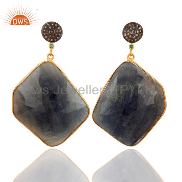 Natural Blue Sapphire Slice Drop Earring Made in 18k Gold Over Sterling Silver