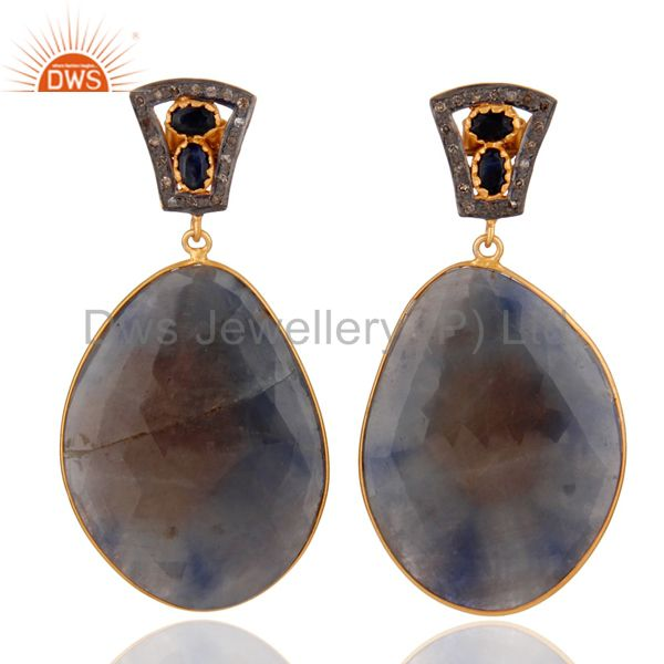 Real Natural Blue Sapphire Diamond Pave 925 Sterling Silver Fashion Drop Earring