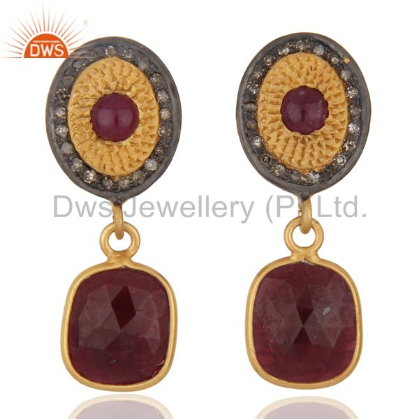 18k Yellow Gold On Sterling Silver Ruby Slice Diamond Pave Dangle Earrings