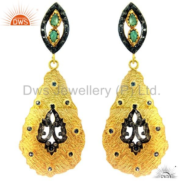 18K Gold Over Sterling Silver Pave Diamond And Emerald Teardrop Earrings