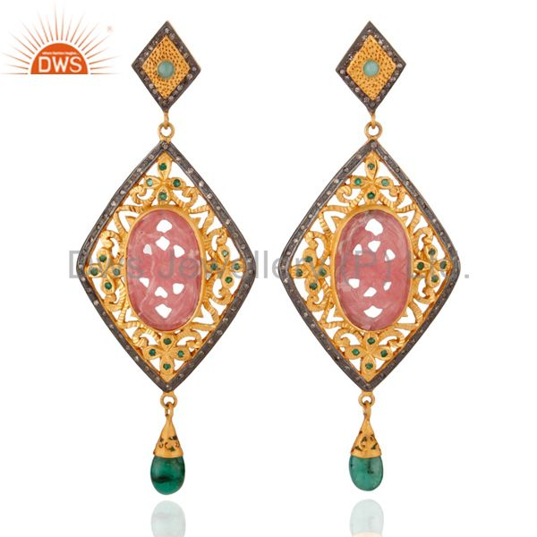 Rhodocrosite Diamond Sterling Silver Emerald Carved Anniversary Earring