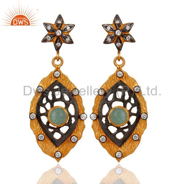 Dyed Green Chalcedony And Cubic Zirconia 18K Gold Plated Party Wear Drop Earring