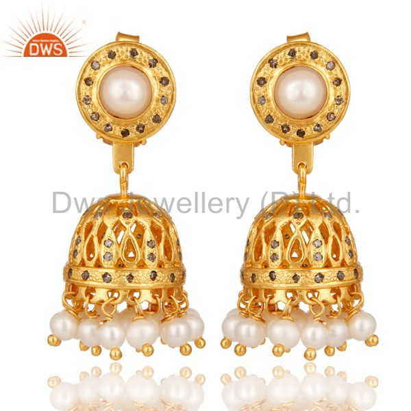 18K Gold Plated Pearl and Diamond Sterling Silver Jhumka Earring