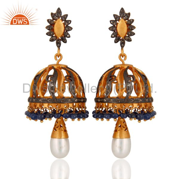 Natural Pearl Pave Setting Diamond 925 Sterling Silver Chandelier Women Earrings