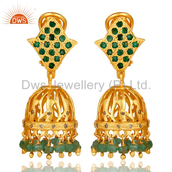 Natural Emerald and Diamond Jhumka Earring 18K Gold Plated Sterling Silver