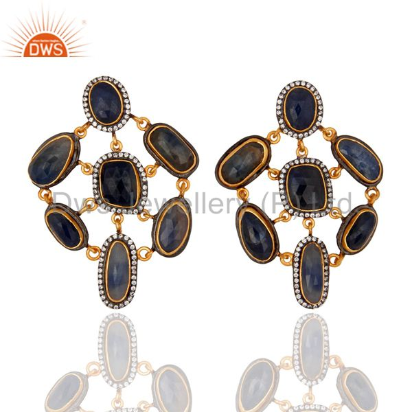 925 Sterling Silver Natural Blue Sapphire Gemstone Earring With Cubic Zirconia