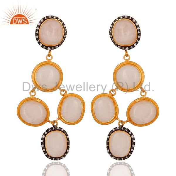 Handmade 925 Sterling Silver Rose Quartz Gemstone Earring With 24k Gold Plated