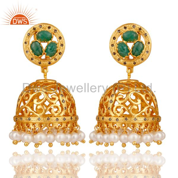 Emerald, Pearl and Diamond 18K Gold Plated Sterling Silver Jhumka Earring