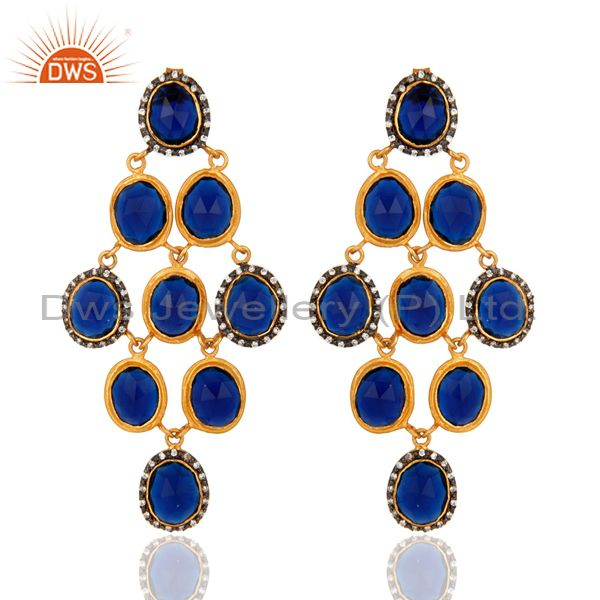 18K Yellow Gold Plated Sterling Silver Blue Corundum Chandelier Earrings With CZ