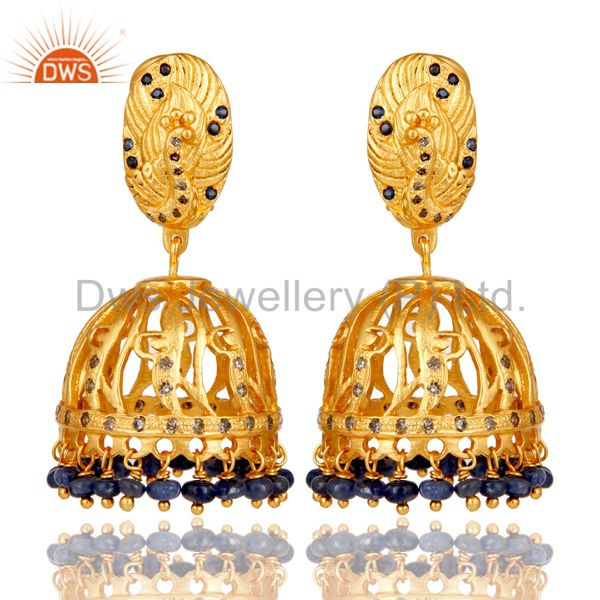 Blue Sapphire and Diamond 18K Gold Plated 925 Silver Jhumka Traditional Earring