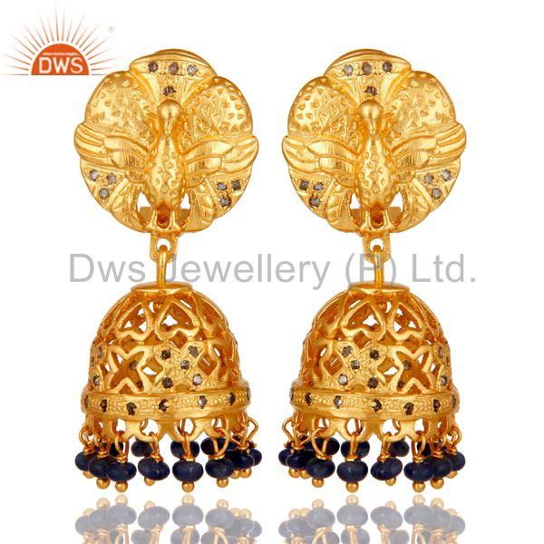 Diamond and Blue Sapphire 18K Gold Plated 925 Silver Jhumka Traditional Earring