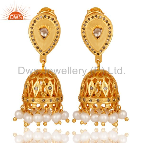 Diamond and White Pearl Beaded Jhumka Earring 18K Gold Plated Sterling Silver