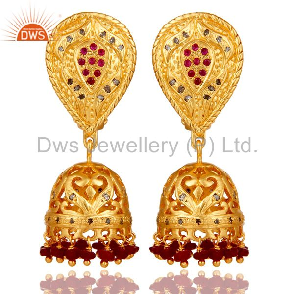 Diamond and Ruby 18K Gold Plated Jhumka Sterling Silver Traditional Earring