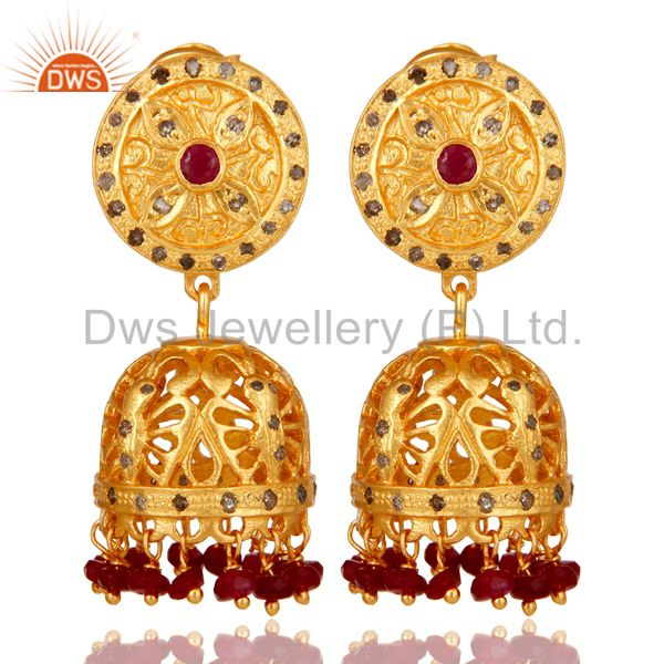 Natural Ruby and Diamond Traditional Jhumka Earring 18K Gold Plating 925 Silver