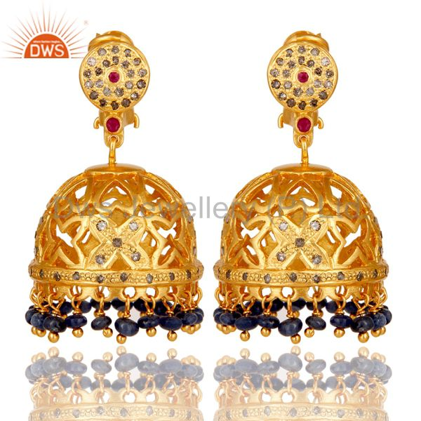 Blue Sapphire, Diamond and Ruby 18K Gold Plated Sterling Silver Jhumka Earring