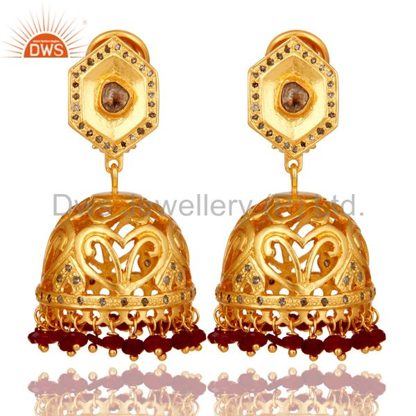 Ruby and Diamond 18K Gold Plated Sterling Silver Jhumka Traditional Earring