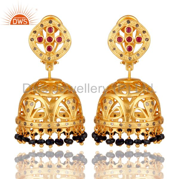 Sapphire Ruby and Diamond Precious Jewelry Earring 18K Gold Plated 925 Silver