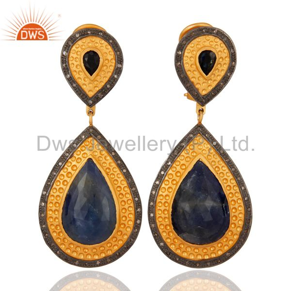 Blue Sapphire Pear Dangle Earrings Diamond 925 Silver 18k Gold Fashion Jewelry
