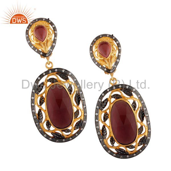 14K Yellow Gold Plated Brass Red Glass And CZ Designer Dangle Earrings