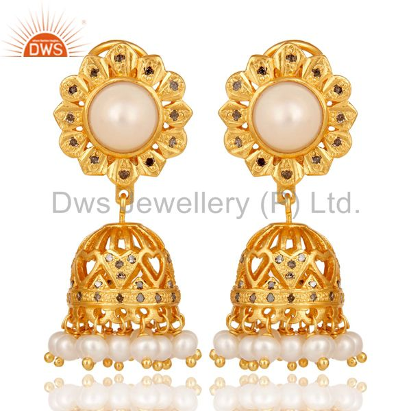 18K Gold Plated Sterling Silver White Pearl and Diamond Jhumka Earring