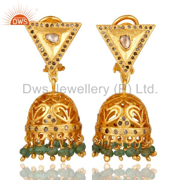 Emerald and Diamond 18K Gold Plated Sterling Silver Traditional Jhumka Earring
