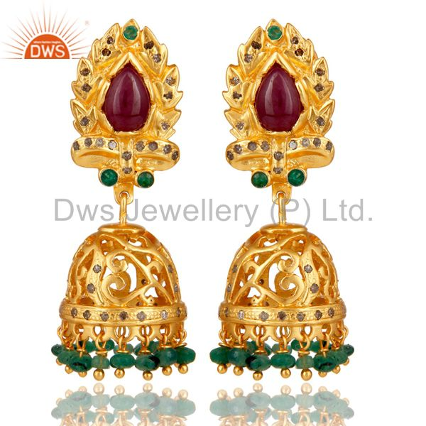 Emerald Ruby and Diamond Precious Jewelry Earring 18K Gold Plated 925 Silver