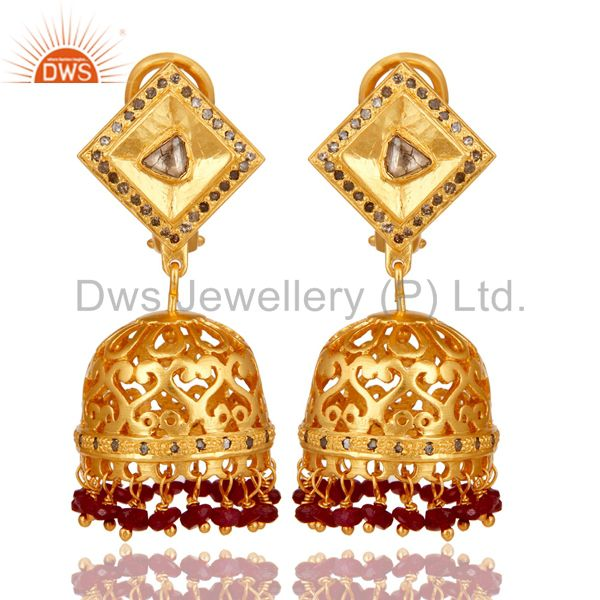 Natural Ruby and Diamond 18K Gold Plated Sterling Silver Indian Jhumki Earring