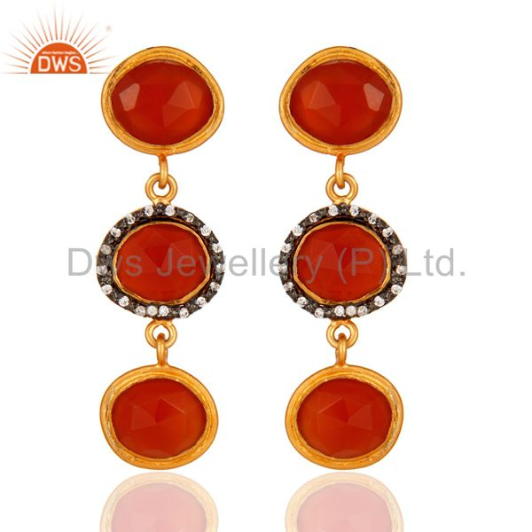 925 Sterling Silver Carnelian Gemstone Dangle Earrings With Yellow Gold Plated