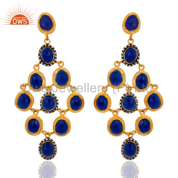 Gold Plated Sterling Silver Natural Sapphire Blue Corundum Chandelier Earrings