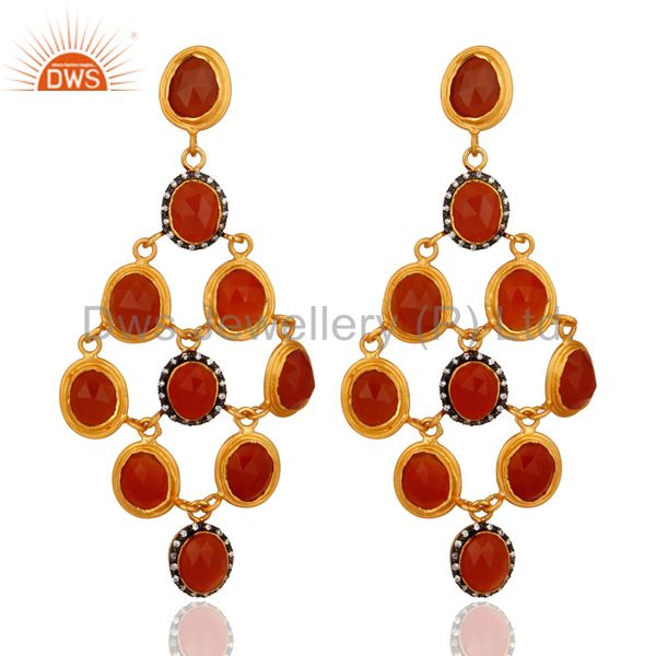 Natural Carnelian Gemstone Chandelier Earrings Made Of 24K Gold Over 925 Silver