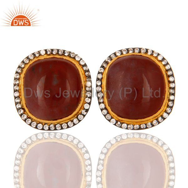 Sterling Silver With GoldPlated Natural Red Agate Gemstone Stud Earrings With CZ