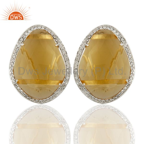 Citrine Hydro Gemstone With Cz 925 Sterling Silver Stud  Earring