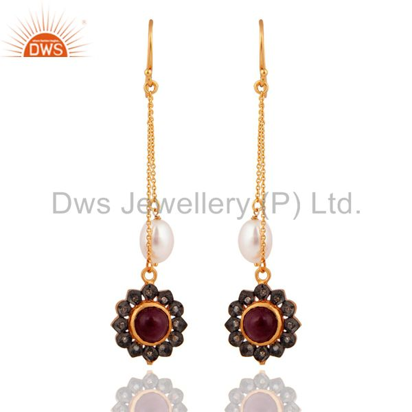 925 Sterling Silver Ruby Gemstone Natural Pearl Pave Diamond Fashion Earrings